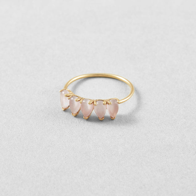 Pink Jade Teardrop Ring