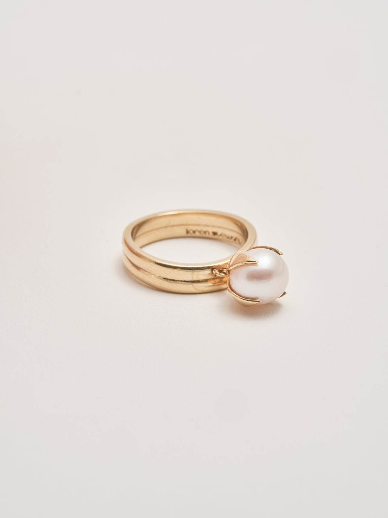 Pearl Charm Stacked Gold Ring
