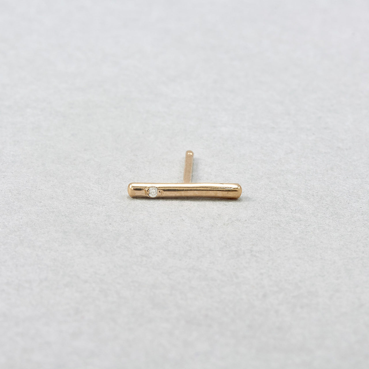 One Diamond Small Rod Studs