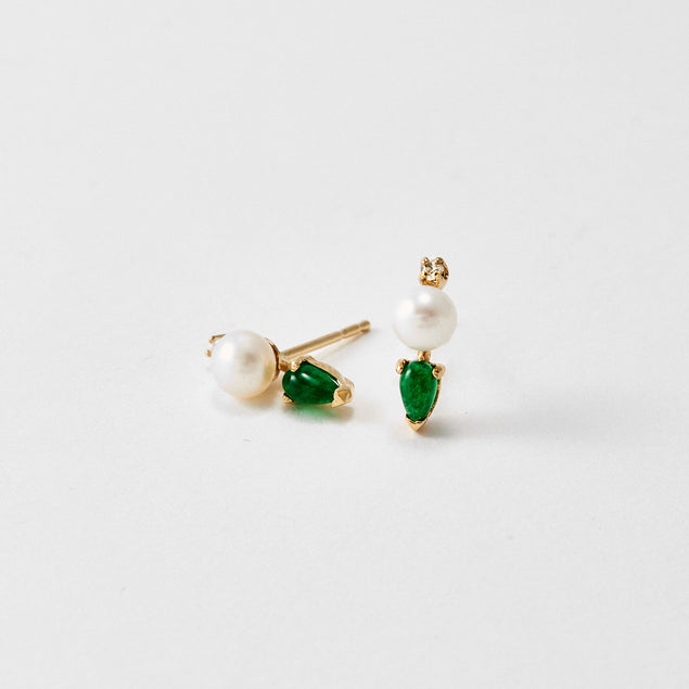 Jade Pearl Bud Earrings