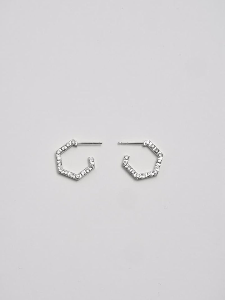 Sterling Silver Hex Hoops