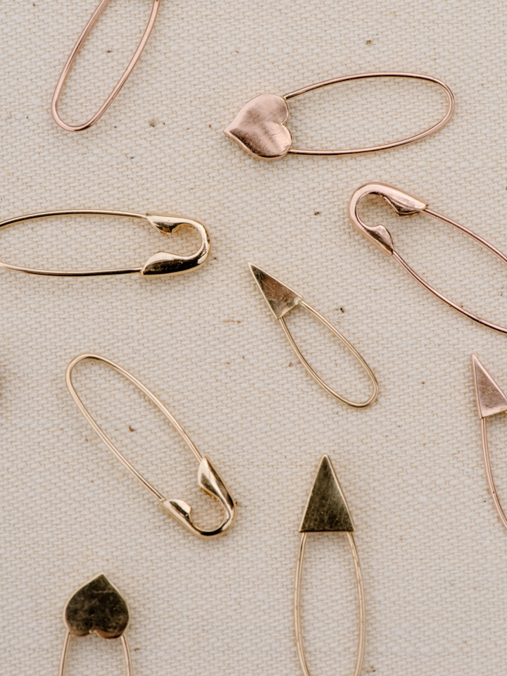 Mini Triangle Safety Pin Earring