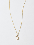 Diamond Crescent Mini Charm Necklace