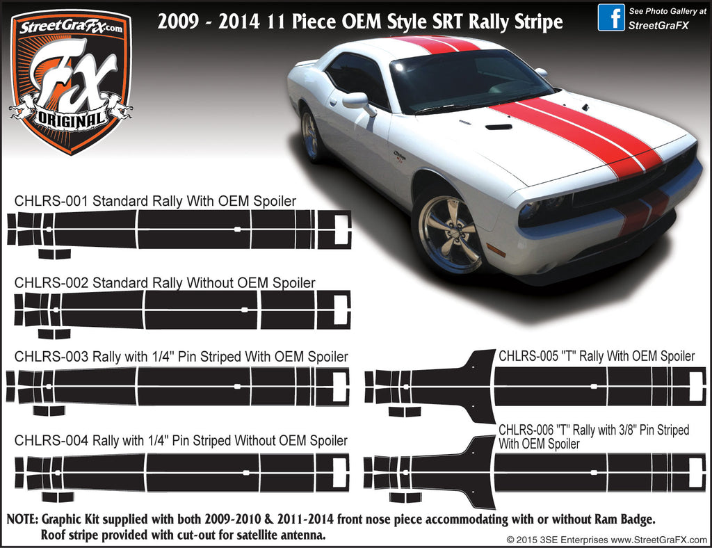 2009 - 2014 Dodge Challenger Rally Stripe Complete Graphic Kit