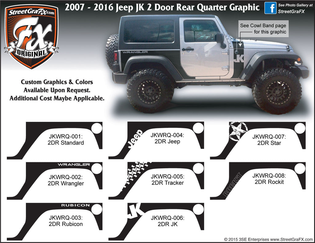 "2007-2018 Jeep JK  Wrangler 2 Door Rear Quarter Complete Graphic Kit ""Left & Right Sides"""