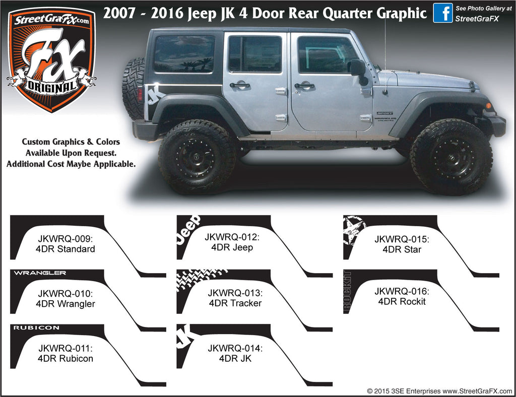 "2007-2018 Jeep JK  Wrangler 4 Door Rear Quarter Complete Graphic Kit ""Left & Right Sides"""