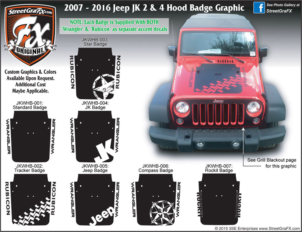 2007-2018 Jeep JK  Wrangler Hood Badge Graphic