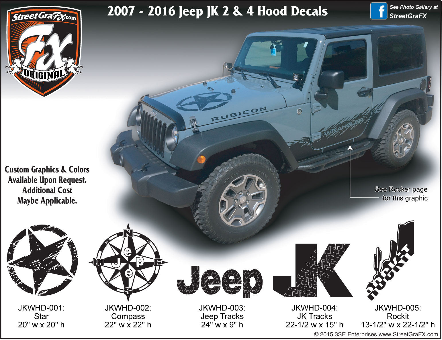 2007 2018 jeep jk wrangler hood decal
