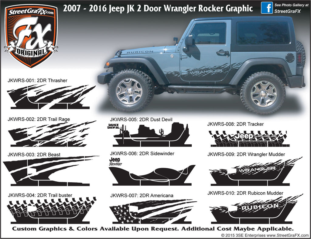 "2007-2018 Jeep JK  Wrangler 2 Door Rocker Complete Graphic Kit ""Left & Right Sides"""