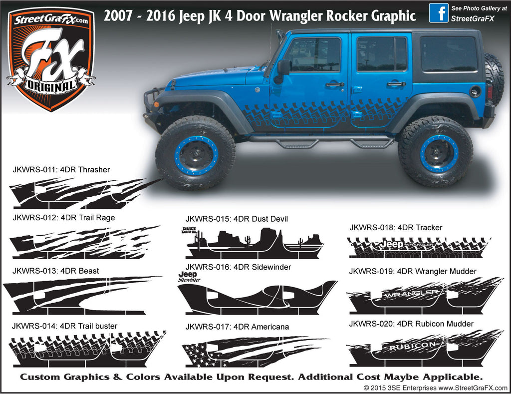 "2007-2018 Jeep JK 4 Door Wrangler Rocker Complete Graphic Kit ""Left & Right Sides"""