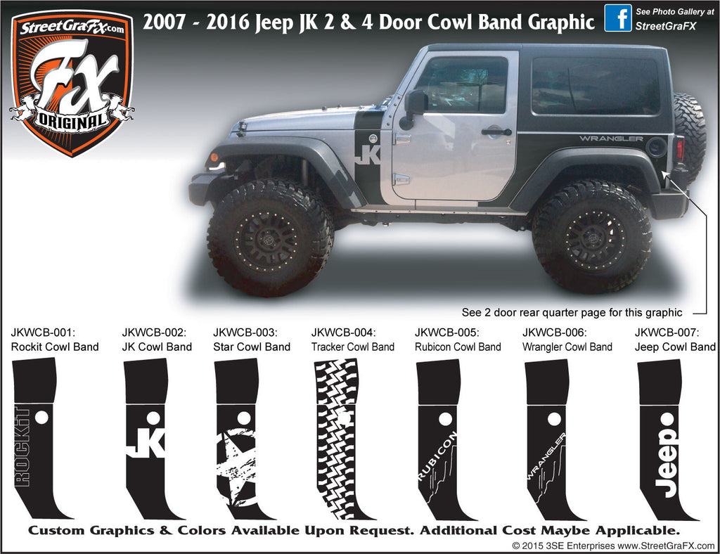 "2007-2018 Jeep JK  Wrangler Cowl Band Complete Graphic Kit ""Left & Right Sides"""