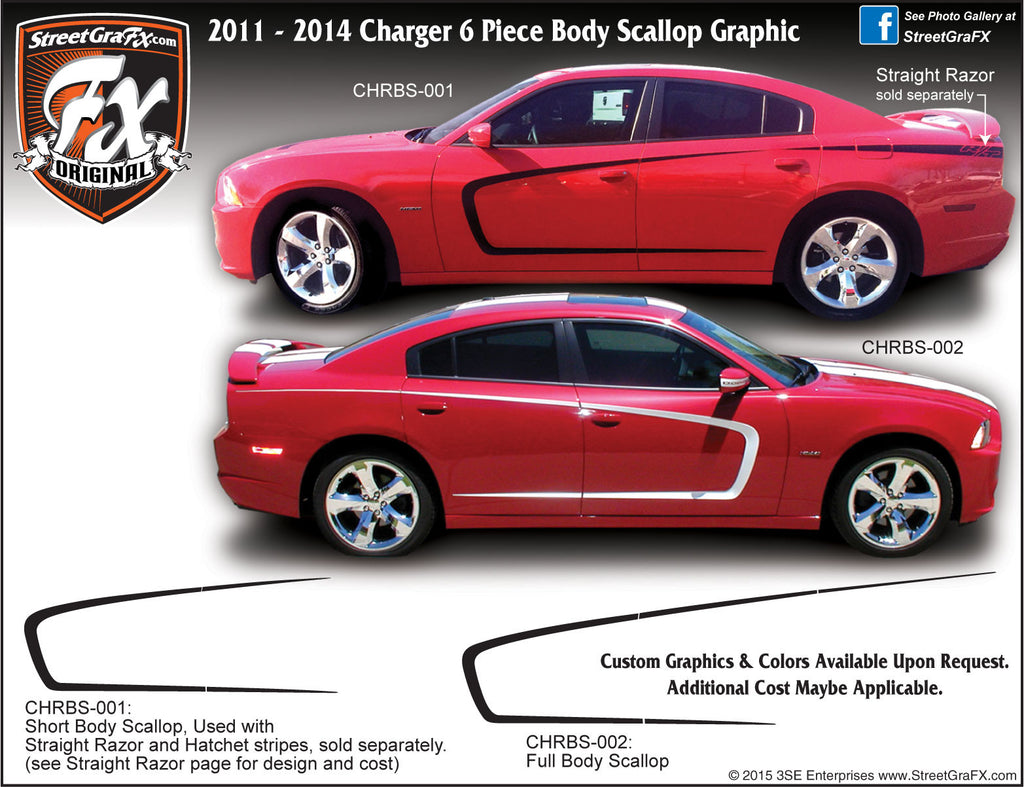 "2011-2014 Dodge Charger Body Scallop Complete Graphic Kit ""Left & Right Sides"""