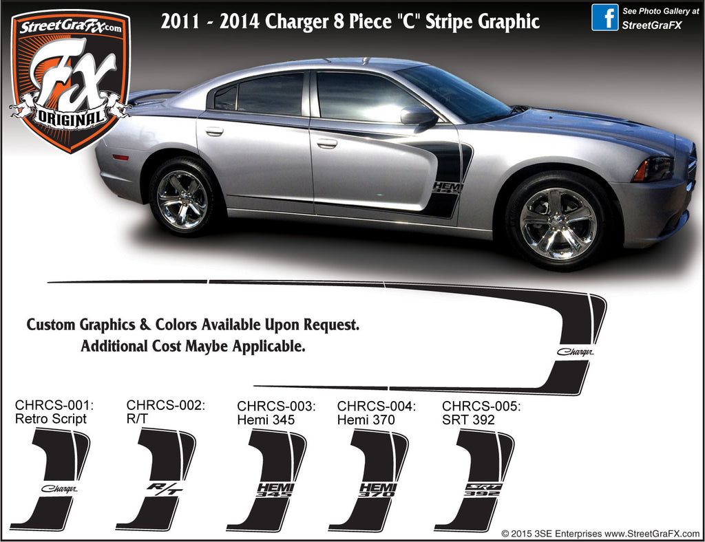 "2011-2014 Dodge Charger C Stripe Complete Graphic Kit ""Left & Right Sides"""