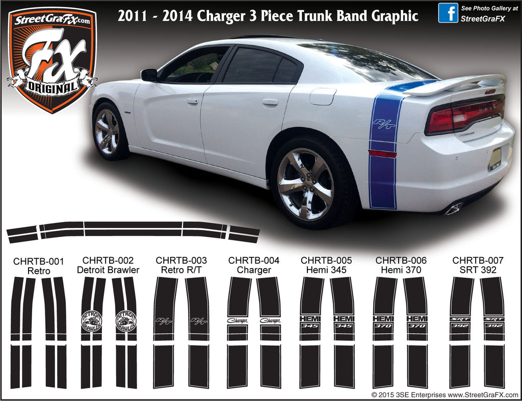"2011 - 2014 Dodge Charger Trunk Band Complete Graphic Kit ""Left & Right Sides"""
