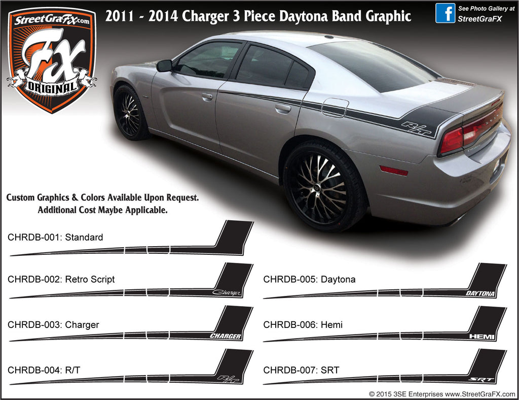 "2011-2014 Dodge Charger Daytona Band Complete Graphic Kit ""Left & Right Sides"""