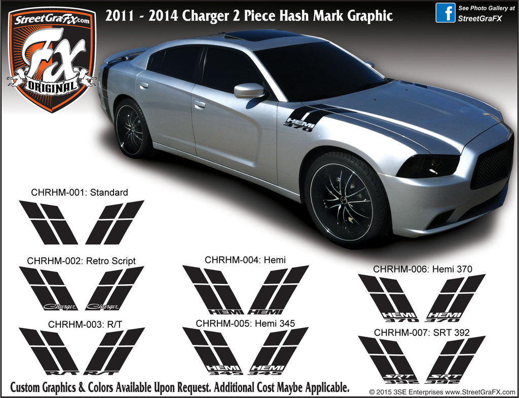 "2011-2014 Dodge Charger Hash Mark Complete Graphic Kit ""Left & Right Sides"""