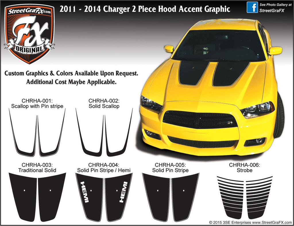 2011-2014 Dodge Charger Hood Accent Complete Graphic Kit