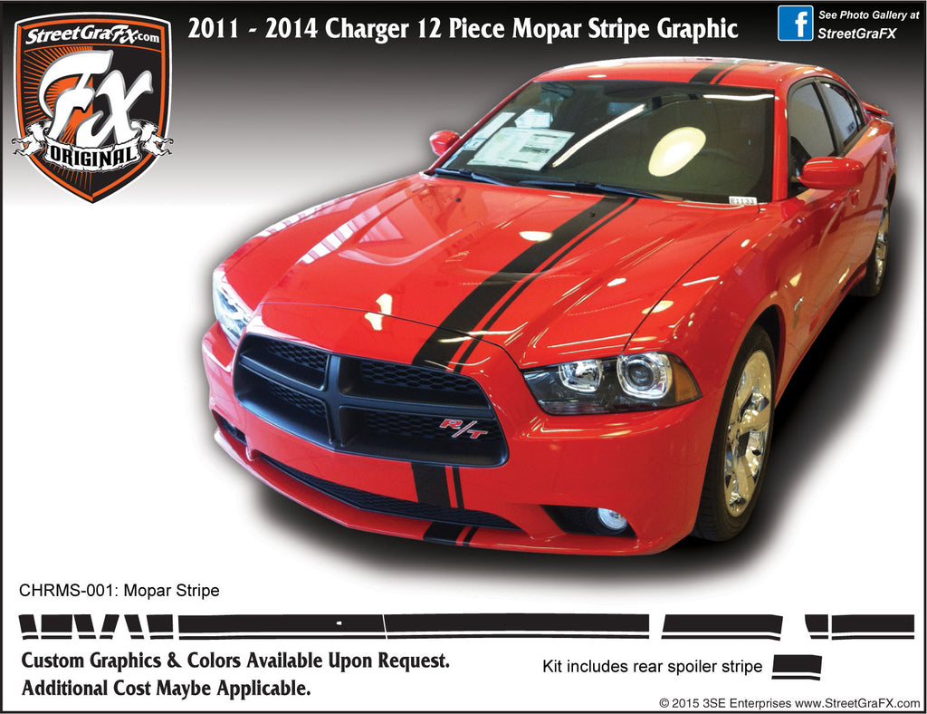 2011-2014 Dodge Charger Euro Stripe Complete Graphic Kit