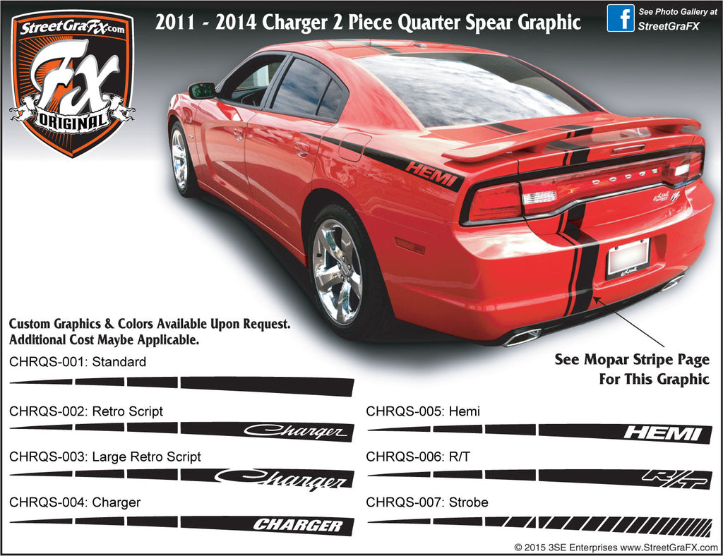 "2011-2014 Dodge Charger Rear Quarter Spear Complete Graphic Kit ""Left & Right Sides"""