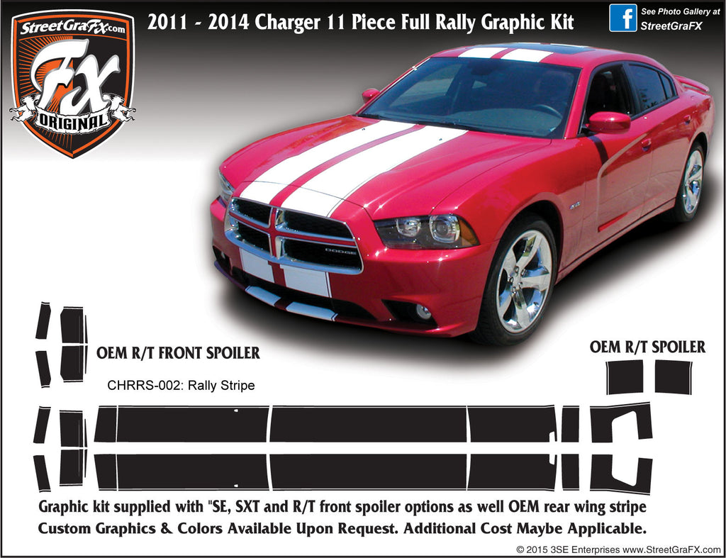 2011-2014 Dodge Charger Rally Stripe Complete Graphic Kit