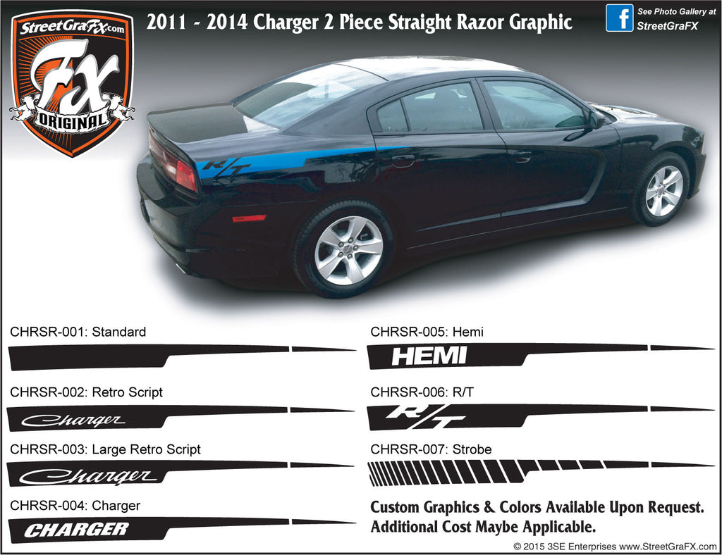 "2011-2014 Dodge Charger Straight Razor Complete Graphic Kit ""Left & Right Sides"""