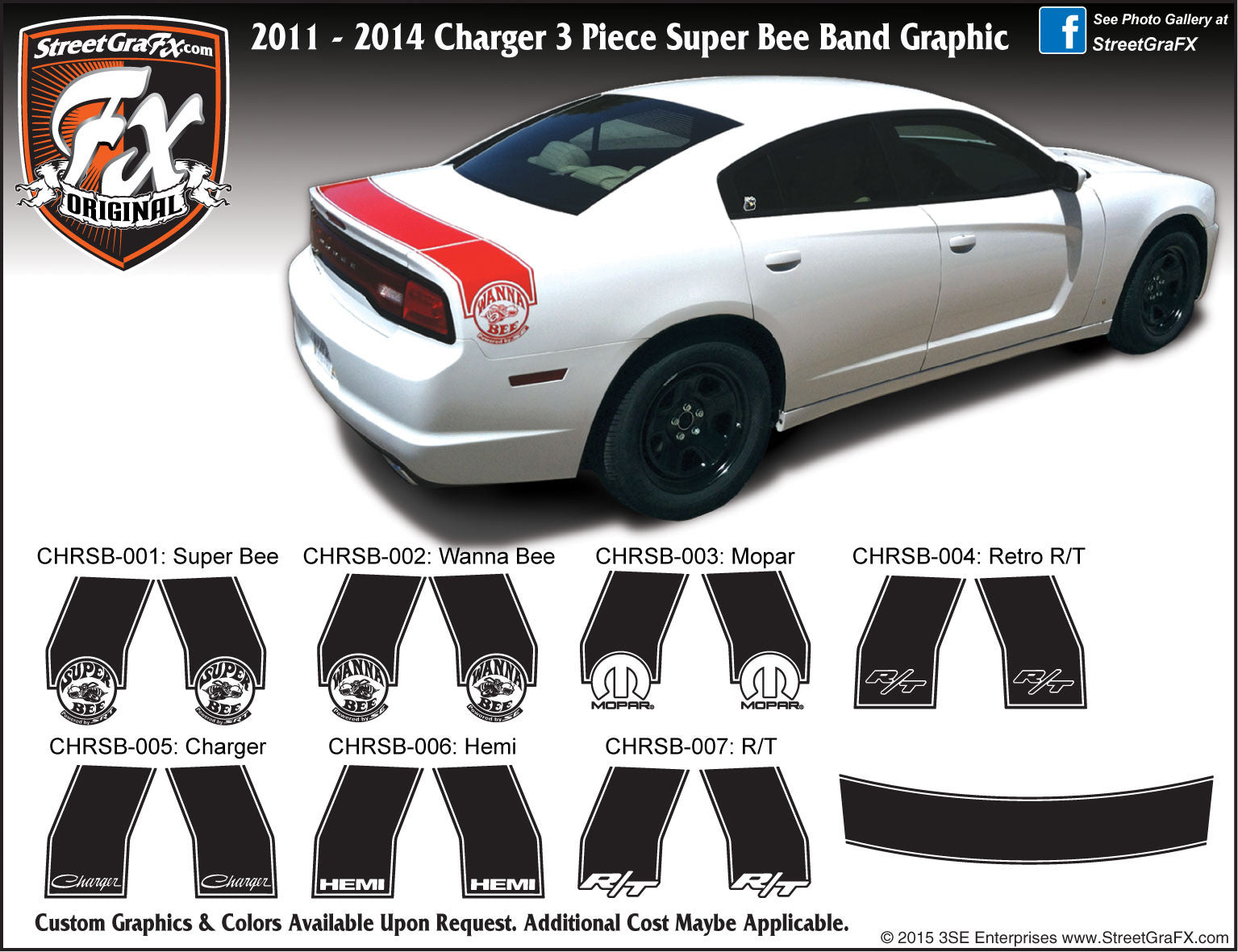 "2011-2014 Dodge Charger Super Bee Band Complete Graphic Kit ""Left & Right Sides"""