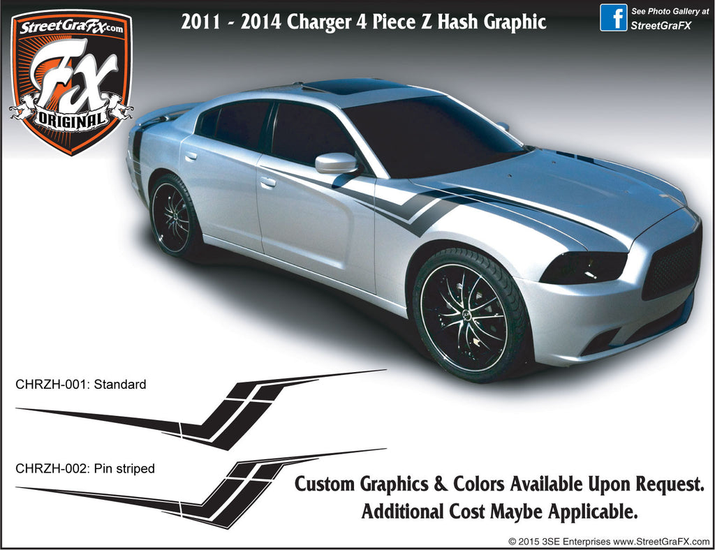 "2011 - 2014 Dodge Charger Z Hash Complete Graphic Kit ""Left & Right Sides"""