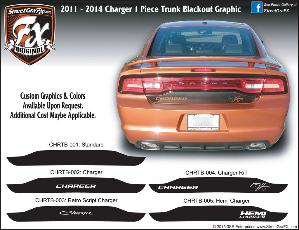 2011 - 2014 Dodge Charger Trunk Blackout Graphic