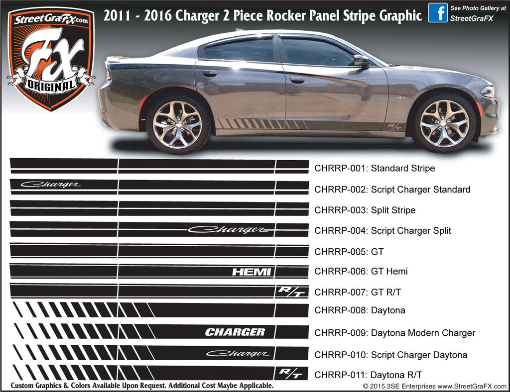"2011-2018 Dodge Charger Rocker Stripe Complete Graphic Kit ""Left & Right Sides"""