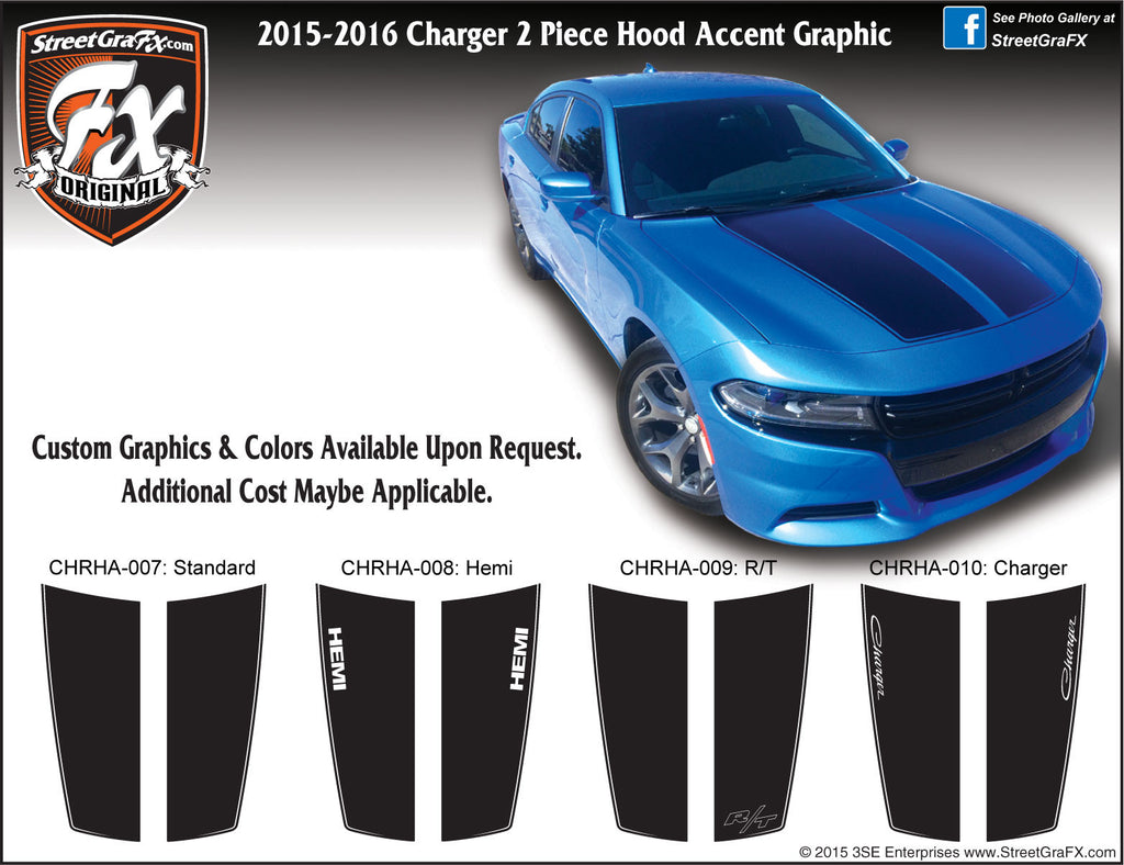 2015-2018 Dodge Charger Hood Accent Complete Graphic Kit