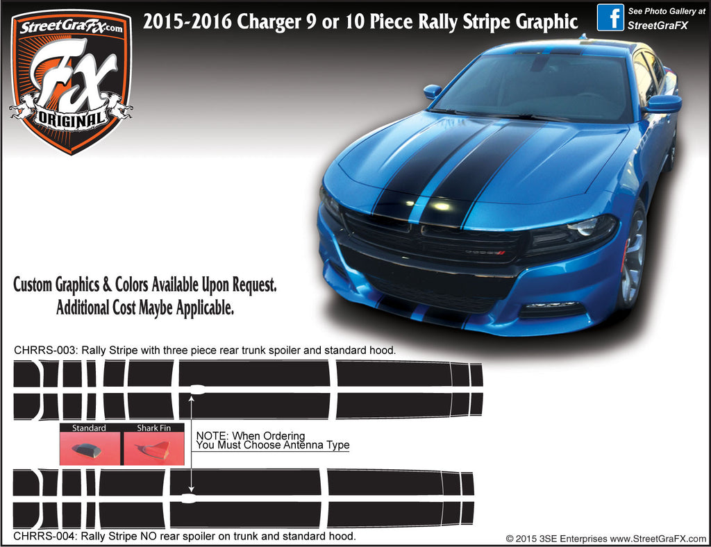 2015-2019 Dodge Charger Rally Stripe Complete Graphic Kit