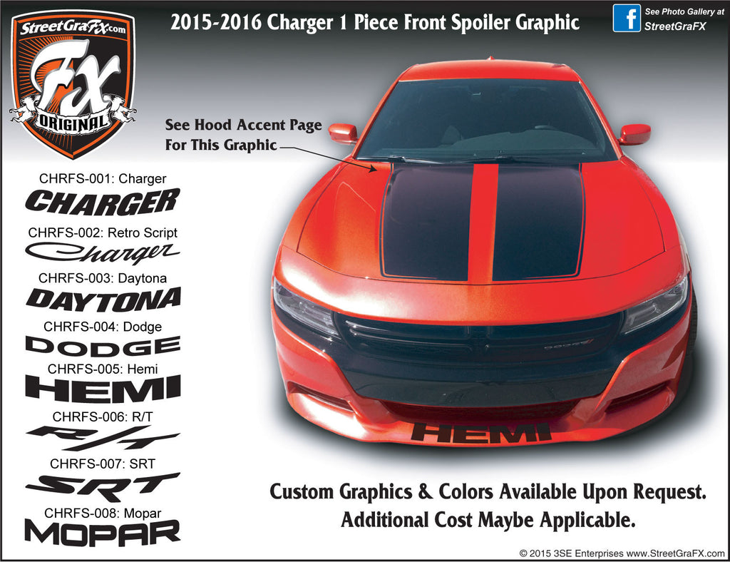 2015-2019 Dodge Charger Front Spoiler Complete Graphic Kit