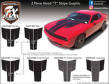"2015-2021 Dodge Challenger ""T"" Style Hood Complete Graphic Kit"