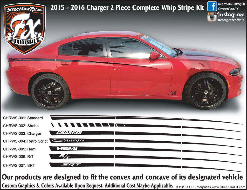 "2015-2019 Dodge Charger Whip Complete Graphic Kit ""Left & Right Sides"""