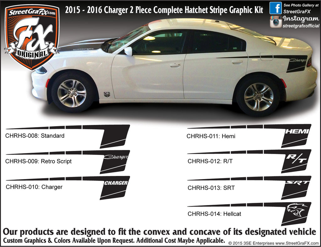 "2015-2018 Dodge Charger Hatchet Complete Graphic Kit ""Left & Right Sides"""