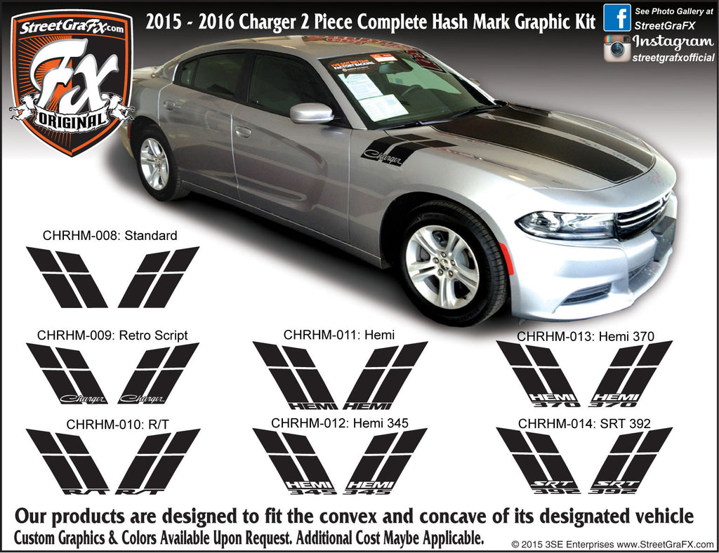 "2015-2018 Dodge Charger Hash Mark Complete Graphic Kit ""Left & Right Sides"""