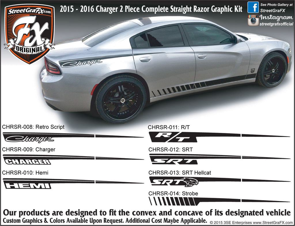 "2015-2019 Dodge Charger Straight Razor Complete Graphic Kit ""Left & Right Sides"""