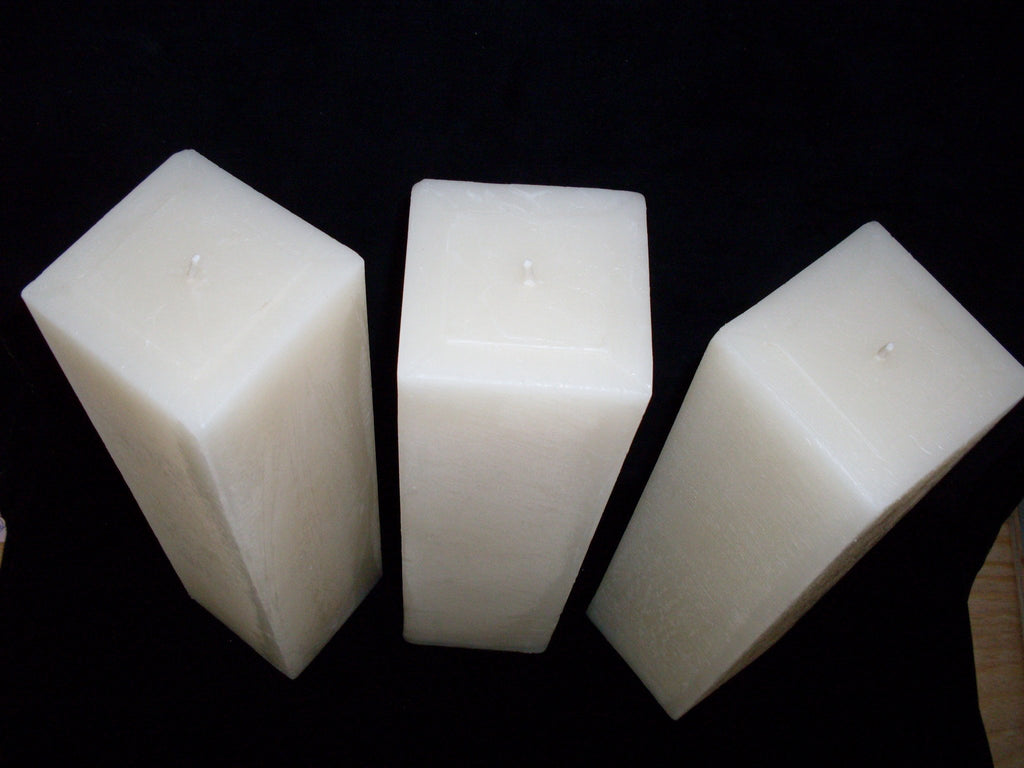 "3"" Square Pillar, 25 solid colours & 3 heights, fragrance free - Fanny Bay Candle Company"