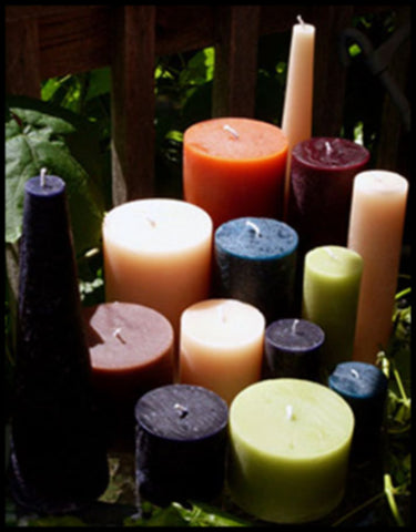 "4""D Round Rustic Pillars, 25 solid colours & 4 heights, fragrance free"