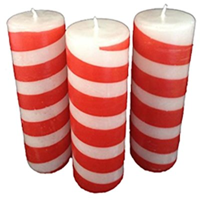"Candy Cane Pillar, 3D x 9""H, Fragrance Free Only - Fanny Bay Candle Company"