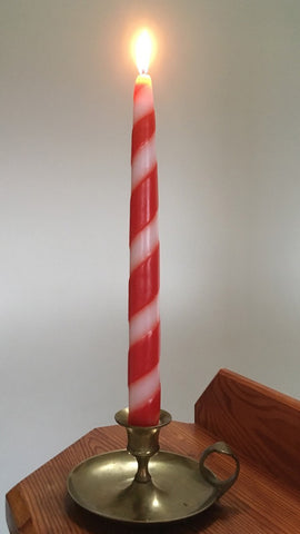 "Candy Cane Tapers, 7/8D x 10""H, Fragrance Free Only, 2 pair Gift Box (4 singles) or 6 pair box"