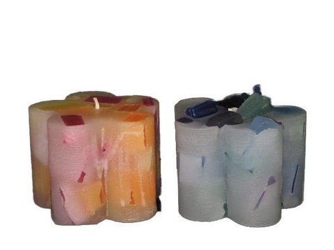 "Flower (Small), 2 3/4""D x 2 3/4""H, Glimmers & Shimmers, 6 colour patterns, fragrance free - Fanny Bay Candle Company"