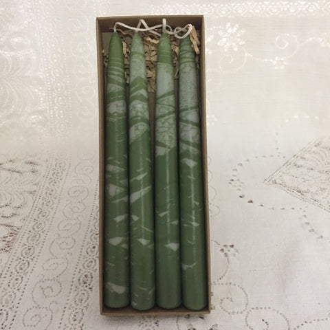 Variegated taper candles