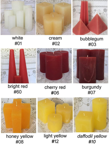 "Star Pillar, 3""D x 9""H, 25 solid colours, fragrance free - Fanny Bay Candle Company"