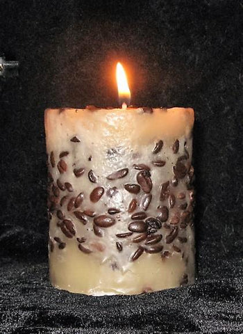 "Vanilla Coffee Bean Pillar, 3""D x 3""H, Scented - Fanny Bay Candle Company"