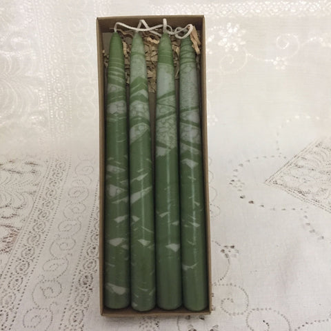 Variegated taper candles - Fanny Bay Candle Company