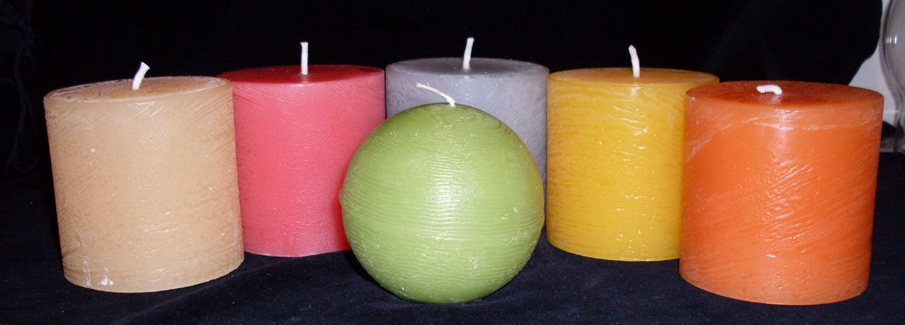 brightly coloured rustic pillar candles