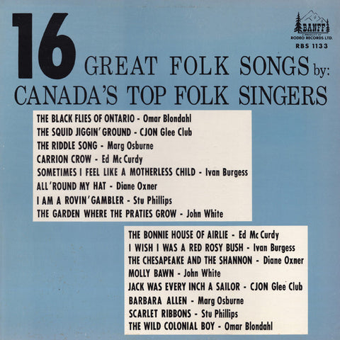 16 Great Folk Songs By Canada's Top Folk Singers (various) Folk, World, & Country -Rare Vinyl