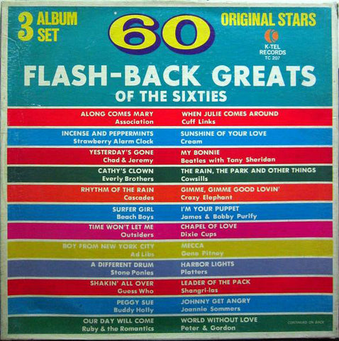60 Flash-Back Greats Of The Sixties - 3 lps- Rock, Pop Style: Classic Rock (Clearance Vinyl) front and back cover split open