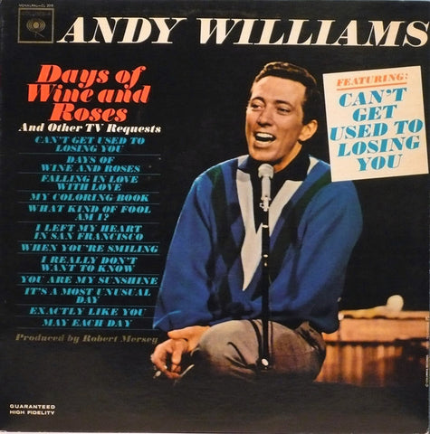 Andy Williams ‎– Days Of Wine And Roses -1963- Pop easy Listening (vinyl)